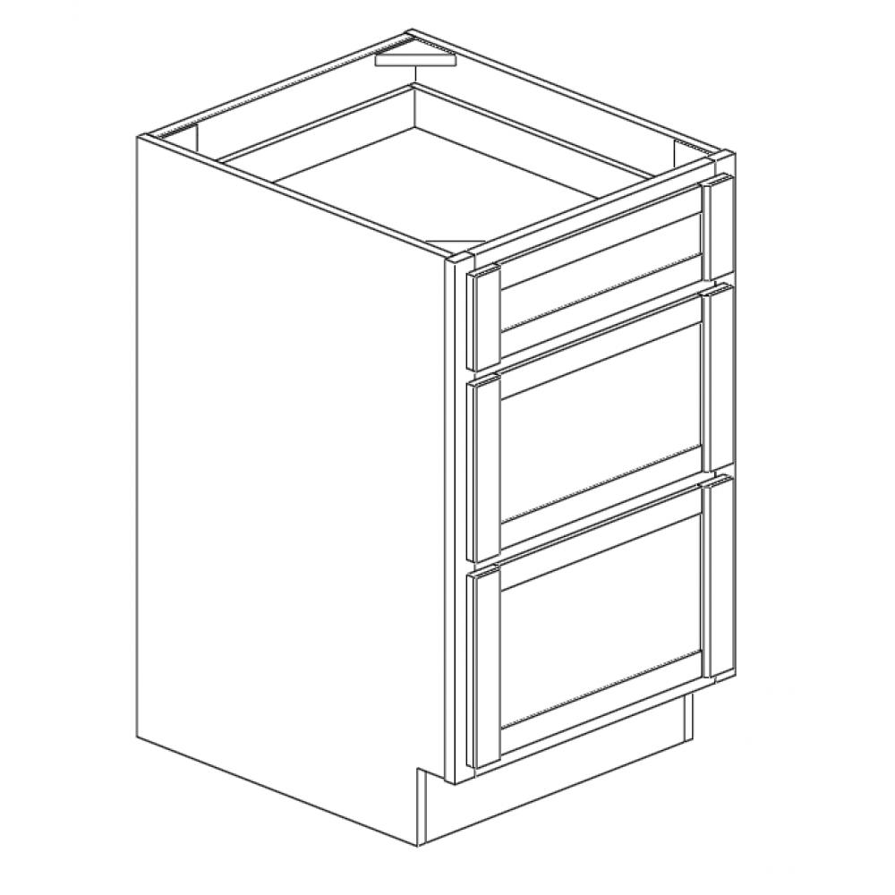 """Drawer Base Cabinet 18""""W 3 Drawers"""