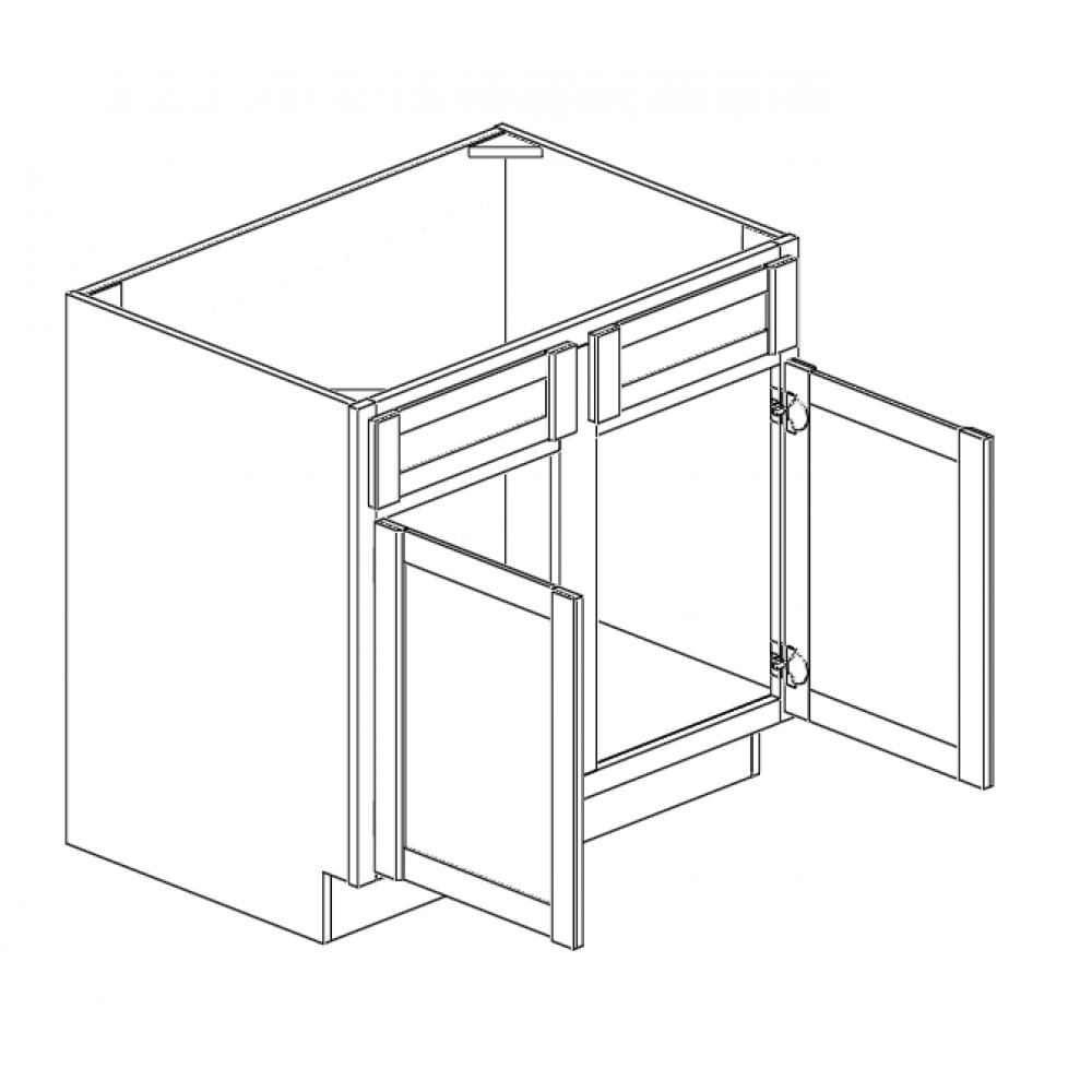 """Sink Base Cabinet 39""""W Double Doors"""